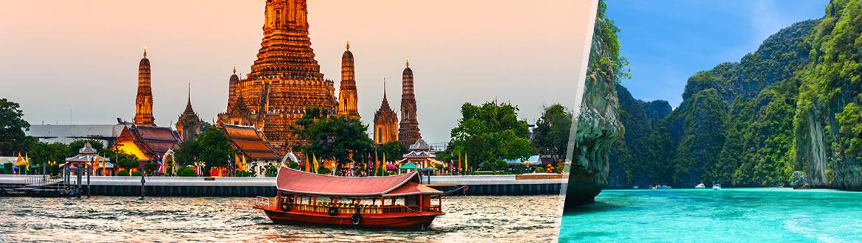 La perfecta combinación para un viaje imborrable: los tesoros de la capital, Bangkok, una urbe cosmopolita, moderna y vibrante, pero que ha sabido preservar su patrimonio cultural y artístico con esmero; y las playas de Phuket, una de las islas del litoral siamés con más opciones para disfrutar: una animada vida nocturna, excursiones a las vecinas islas de Phi Phi o la famosa Bahía de Phang Nga y una variedad de excelentes hoteles para satisfacer los gustos más diversos. ¿Nos acompañas?