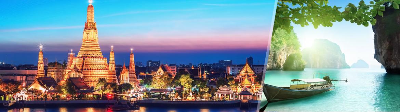 Permite que te descubramos nuestros rincones favoritos de Bangkok, la gran dama de Asia, una ciudad que sorprende a propios y ajenos con sus arquitecturas tradicionales llenas de colorido, con su delicada espiritualidad, sus magníficas compras y sus amables habitantes... Después, nada mejor que recalar en las playas de Krabi, a cuyo frente se desplega un hermoso paisaje salpicado por islas calcáreas.