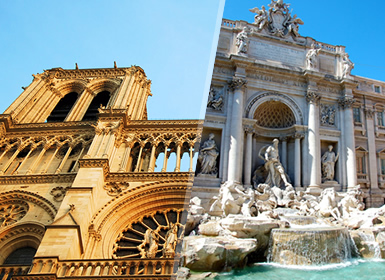 Sur de Europa: París y Roma en avión