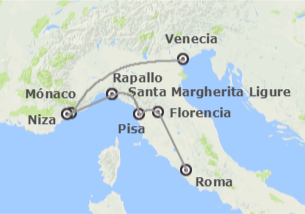 Sur de Europa: La Costa Azul con Roma, Florencia y Venecia