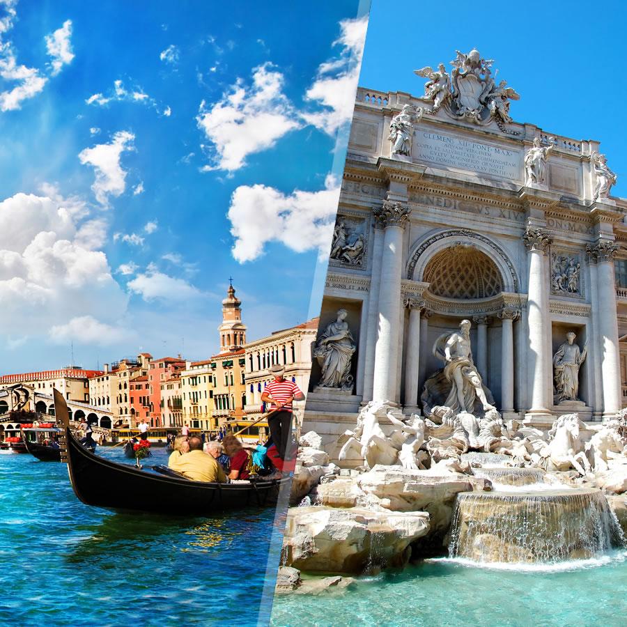 Roma y Venecia en avión