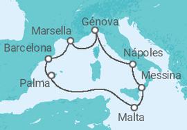 Resultado de imagen de Itinerario: Barcelona – Marsella (Francia) – Génova (Italia) – Nápoles (Italia) – Messina (Italia) – La Valeta. (Malta) – Palma de Mallorca (España) – Barcelona.