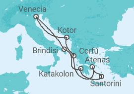 Itinerario del Crucero Italia, Grecia, Montenegro - MSC Cruceros